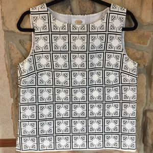 Talbots Black White Quilted Tank Top Size 12